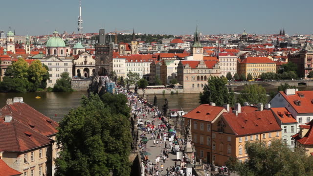ws ha crowd on charles bridge / prague, czech republic - charles bridge stock videos and b-roll footage