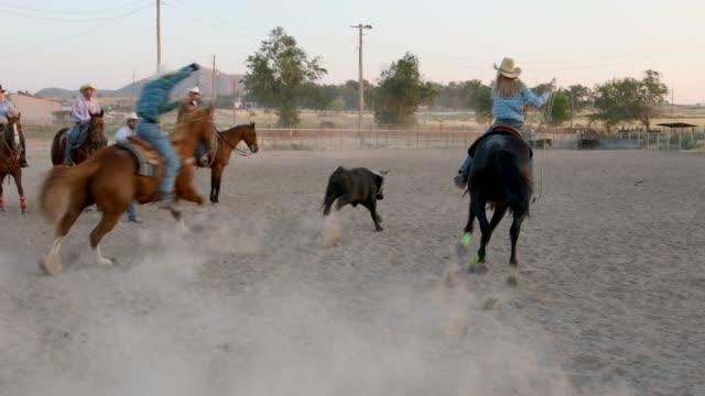 Masse auf dem Pferderücken zu sehen das Team Roping Ereignis bei einem staubigen Rodeo