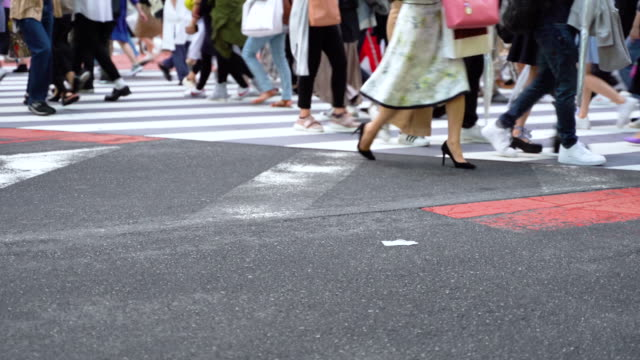 crowd on the crosswalk on a rush hour in tokyo, japan - pedone ruolo dell'uomo video stock e b–roll