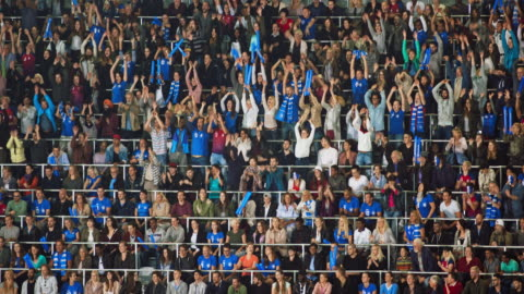 ld crowd on the tribune at a sports event doing the mexican wave - celebration event stock videos & royalty-free footage