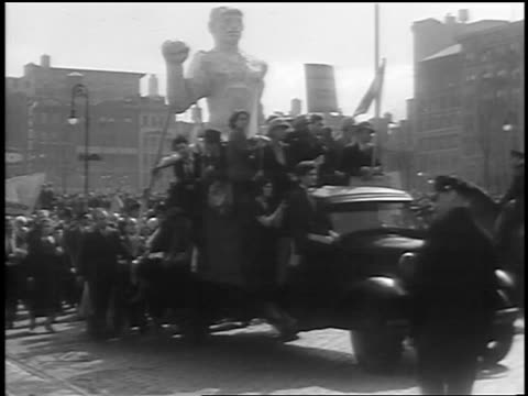 b/w 1933 crowd on truck in procession at communist demonstraton / union square nyc - 1933 stock videos and b-roll footage