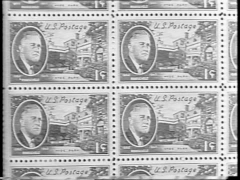 crowd outside of the hyde park post office / eleanor roosevelt seated beside elliott roosevelt and faye emerson / close-up of elliott and his wife /... - postage stamp stock videos & royalty-free footage