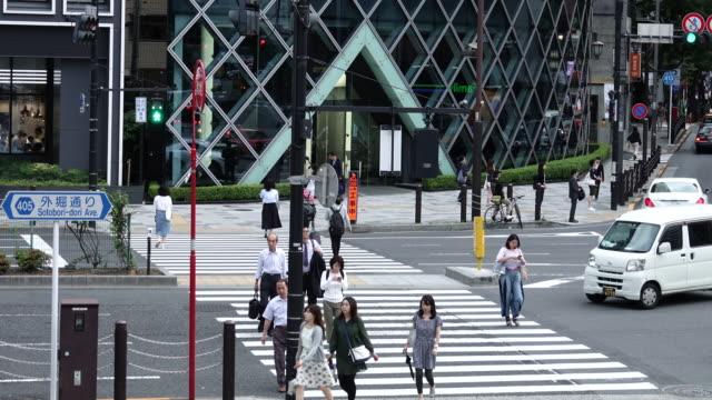 crowd passing crosswalk in akasaka, tokyo, japan. 4k zeitraffer - insel honshu stock-videos und b-roll-filmmaterial