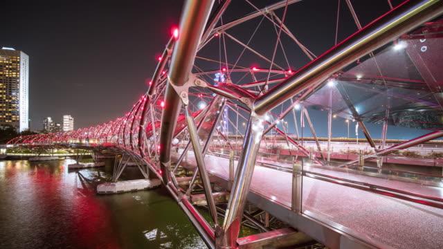 crowd people at helix bridge - helix bridge stock videos & royalty-free footage