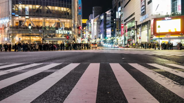crowd people at shibuya - zebra crossing stock videos & royalty-free footage