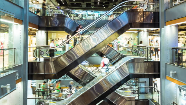 crowd people in shopping mall - escalator stock videos & royalty-free footage