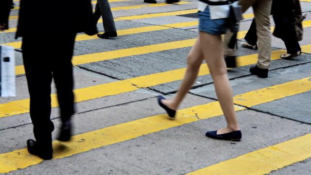 Crowd People Walking On Crosswalk