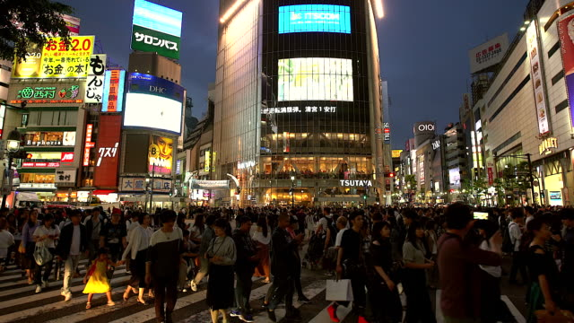 crowd people walking on shibuya crossing road at night time in tokyo,japan - electronic billboard stock videos and b-roll footage