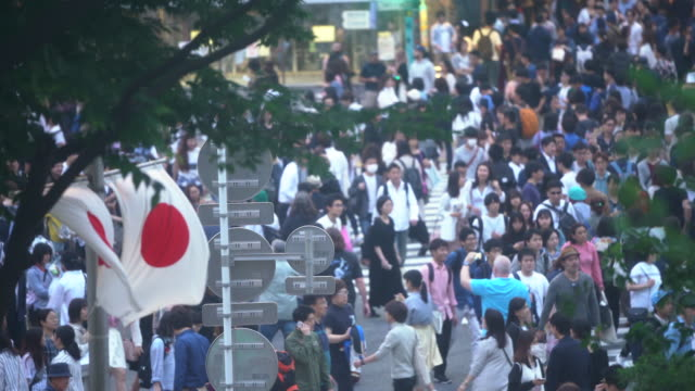 crowd people walking on shibuya crossing road at night time in tokyo,japan - japan flag stock videos & royalty-free footage