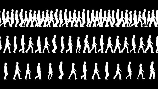 (loopable and tileable) crowd, people walking - matte board stock videos & royalty-free footage