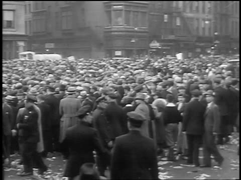 b/w 1933 crowd police moving slowly at communist demonstraton / union square nyc - 1933 stock videos and b-roll footage