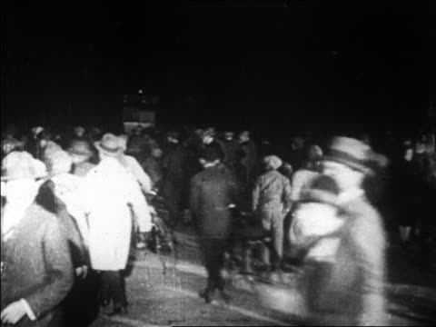 b/w 1927 crowd running to see lindbergh / le bourget airfield paris / newsreel - 1927 stock videos & royalty-free footage