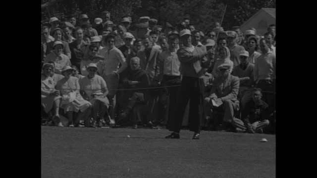 vs crowd shots at masters tournament / ken venturi tees off twice / cary middlecoff tees off / jack burke jr hits ball out of sand trap / burke... - pga event stock videos and b-roll footage