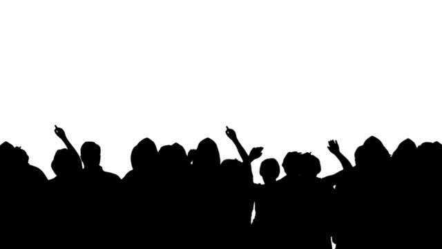 crowd silhouette - white background stock videos & royalty-free footage