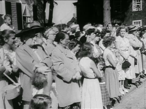 crowd standing outside of church for kennedy/bouvier wedding / newport, ri - jackie kennedy stock videos & royalty-free footage