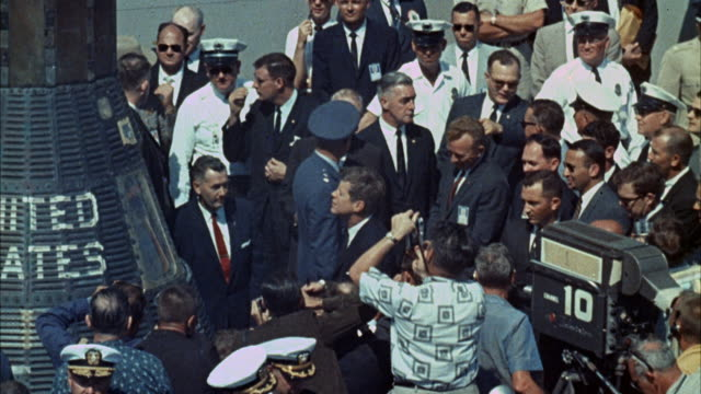 ms crowd surrounds recovered mercury space capsule - 1960 stock videos & royalty-free footage