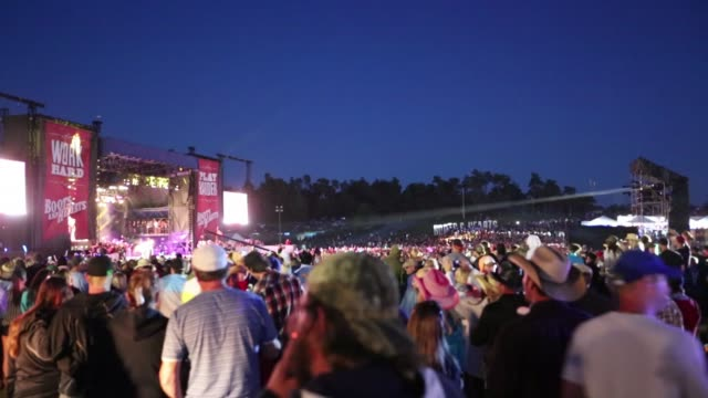 A crowd  surrounds the stage at the Boots and Hearts Festival.