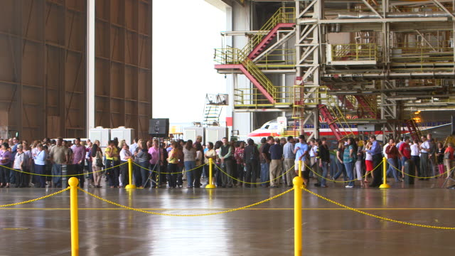 PAN crowd waiting for arrival of Dreamliner aircraft in hanger/DFW International Airport, Dallas-Fort Worth, Texas, USA