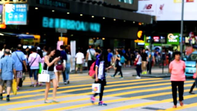 crowd walking on crosswalk - walk don't walk signal stock videos and b-roll footage