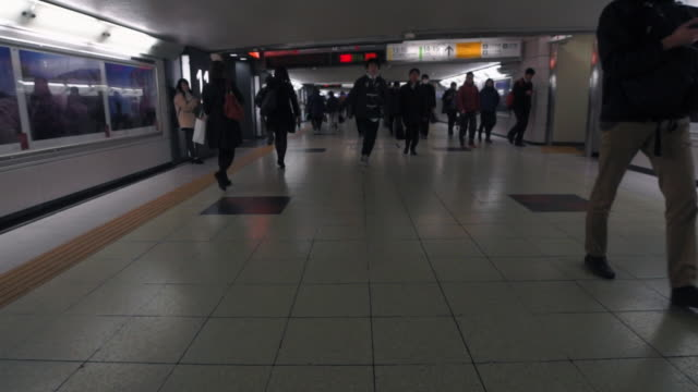 crowd walks to subway at rush hour - tokyo, japan - 地下鉄電車点の映像素材/bロール