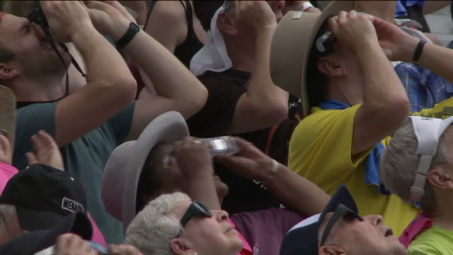 ktvi crowd watches 2017 total solar eclipse on aug 21 2017 in carbondale missouri - astronomy stock videos & royalty-free footage