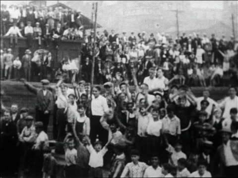 b/w 1926 crowd waving to admiral byrd's ship before leaving on expedition to north pole / newsreel - 1926 stock videos & royalty-free footage