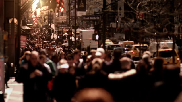 Crowded avenue. New York City. US.