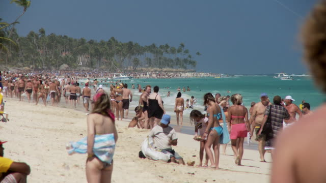 ms, crowded beach, punta cana, dominican republic - dominican republic stock videos and b-roll footage