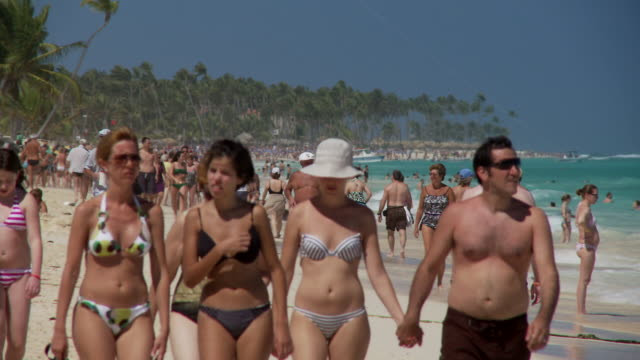 t/l, ms, crowded beach, punta cana, dominican republic - punta cana stock videos and b-roll footage
