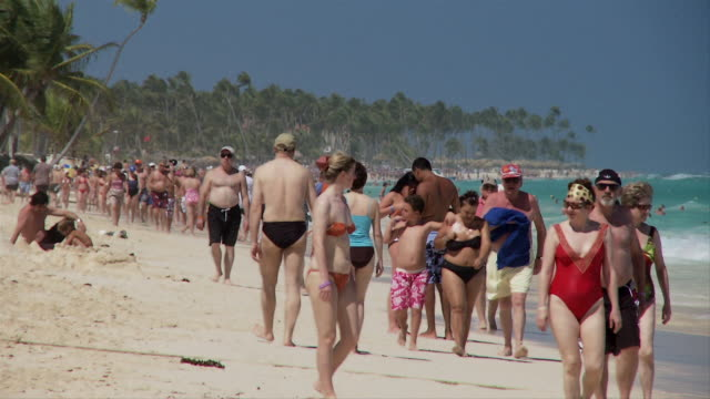 SLO MO, MS, Crowded beach, Punta Cana, Dominican Republic