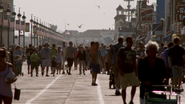 Crowded Boardwalk in Ocean City, New Jersey on a Sunny Day