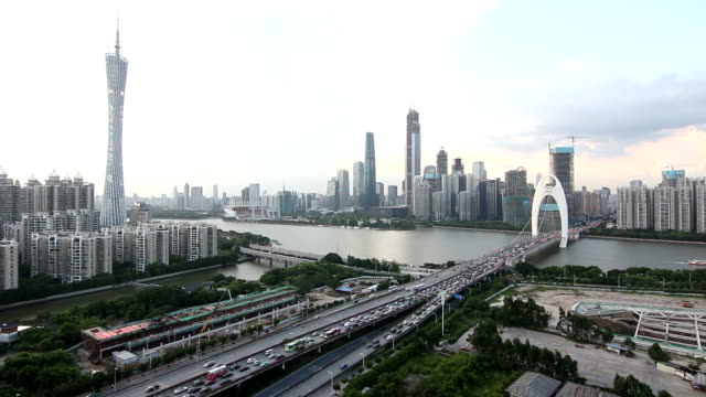 ws crowded car flow in cbd / guangzhou, china - tall high stock videos & royalty-free footage