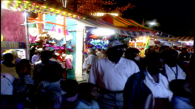 Crowded Carnival At Night