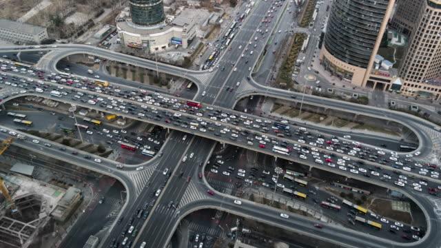 t/l ws ha zo überfüllt stadtverkehr / peking, china - chaos stock-videos und b-roll-filmmaterial