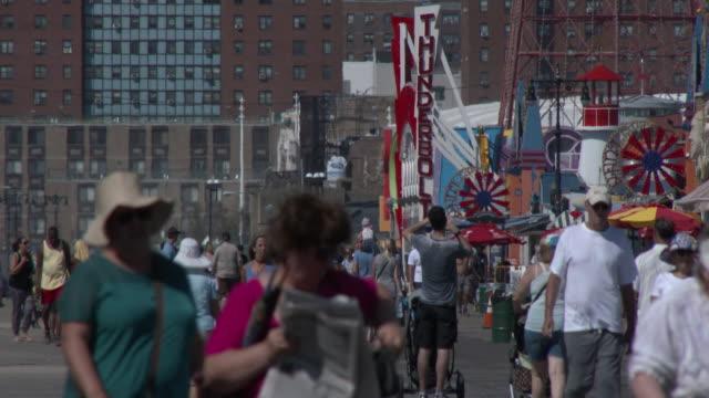 Crowded Coney Island Beach Boardwalk, Luna Park, Summer Heat Wave