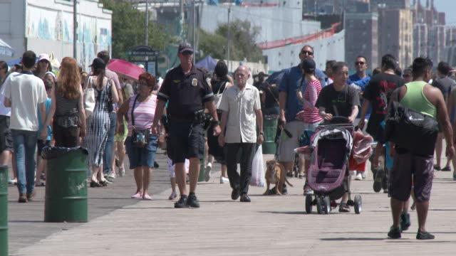 Crowded Coney Island Beach Boardwalk, Summertime Heat Wave
