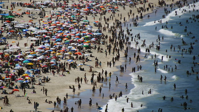 t/l, ws, ha, crowded copacabana beach, rio de janeiro, brazil - copacabana stock videos & royalty-free footage