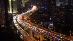 MS HA Crowded elevated roads and busy traffic at night / Shanghai, China