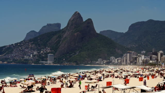 Crowded Ipanema beach in Rio de Janeiro at the weekend