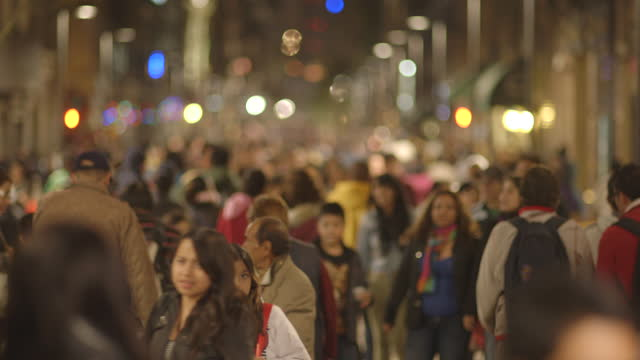 crowded madero street in mexico city downtown at night - rack focus stock videos & royalty-free footage