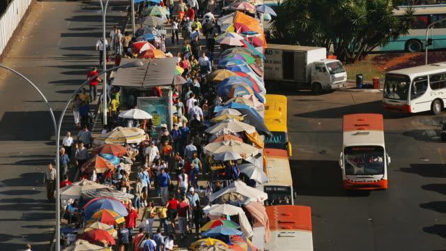 T/L, HA, MS, Crowded market at bus station, Brasilia, Brazil