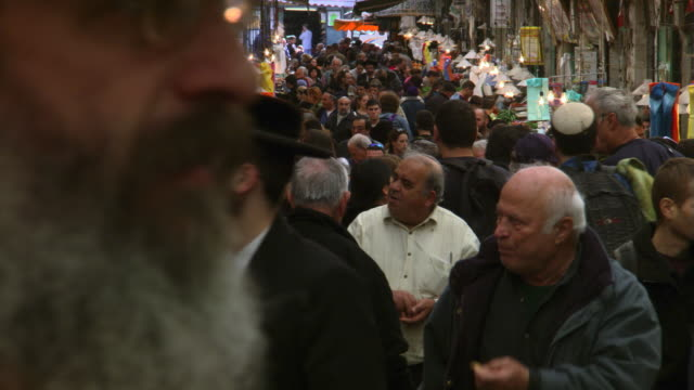 crowded marketplace in jerusalem - jerusalem stock videos & royalty-free footage