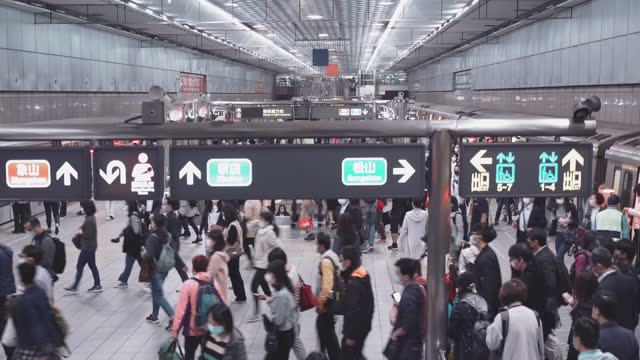 crowded of people at busy station, taiwan - taipei stock videos & royalty-free footage