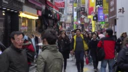 Crowded of people walking in the streets of Seoul, South Korea