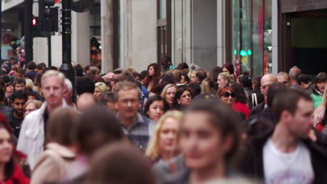 london - october 8: crowded oxford street in slow motion on october 8, 2011 in london. - oxford street london stock videos and b-roll footage