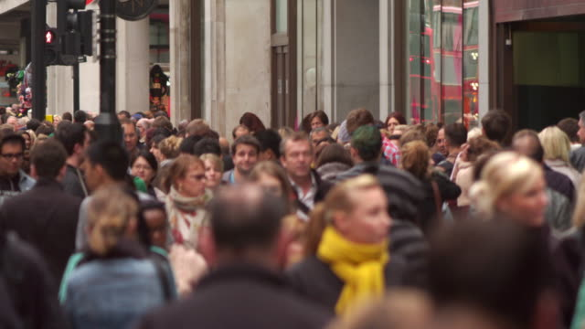 london - october 8: crowded oxford street on october 8, 2011 in london. - oxford street london stock videos and b-roll footage