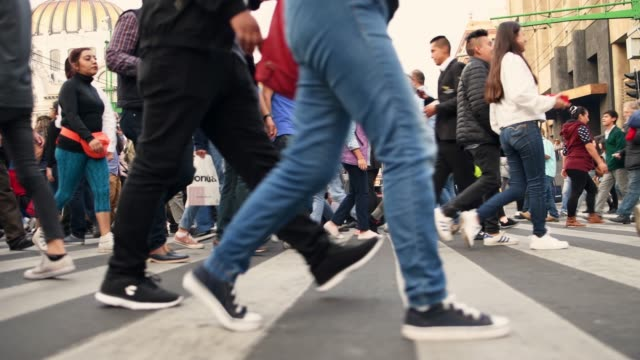 crowded pedestrian crossing in mexico city - mexico stock videos & royalty-free footage