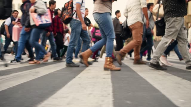 crowded pedestrian crossing in mexico city - mexico city stock videos & royalty-free footage