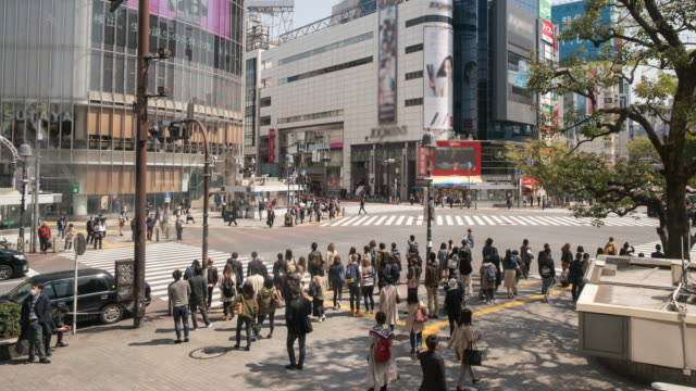 Crowded pedestrian Shibuya Crossing, Time Lapse