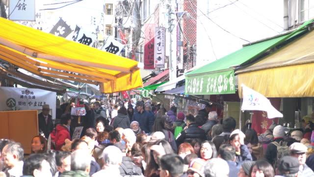 Crowded people at Tsukiji Fish Market